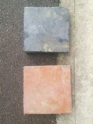 "Reclaimed Floor Tiles - 350 off, 9""x9""x1.5"" thick, terracotta & grey/blue"