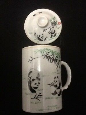 Chinese Porcelain Tea Cup Handled Infuser Strainer with Lid 10 oz Panda White