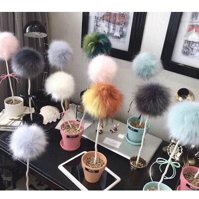UK 10cm Faux Raccoon Fur Pom Pom Ball with Press Button for Knitting DIY Hat