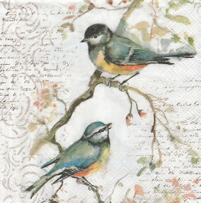 4x Paper Napkins for Party, Decoupage Craft Happy little titmice