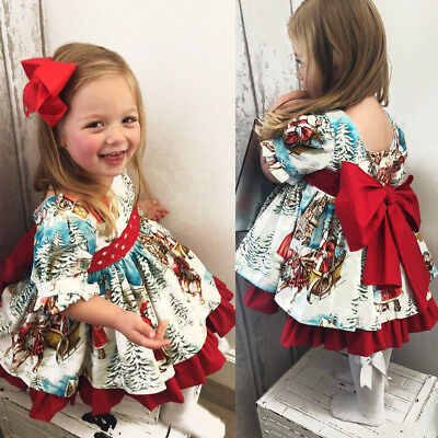 USA Christmas Toddler Kids Baby Girl XMAS Flared Party Santa Swing Dress Gift