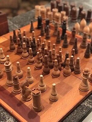 Antique Hand Carved Chess and Checkers-Amazing Quality! Over 100 pieces!
