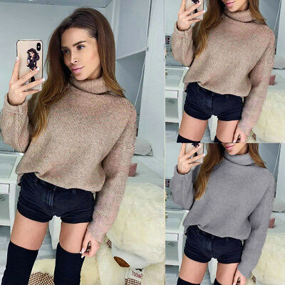 Women Medium Style Sweater Fashion Sexy Long Sleeve Solid High Neck Comfortable