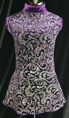 PURPLE SILVER Ice Figure Skating Competition Dress / GIRLS LARGE 12 / 14