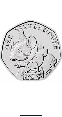 mrs tittlemouse  50 P COIN 2018  FIFTY PENCE BEATRIX POTTER,  UNCIRCULATED.,.