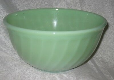 Med Vintage Anchor Hocking Fire King Jadeite Glass Swirl Patterned Mixing Bowl