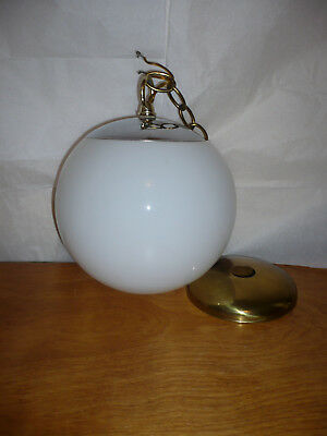 1970s Mid-century Modern space age hanging milk glass globe ceiling fixture