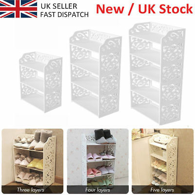 White Hollow 3/4/5 Tiers Shoe Rack Stand Storage Organiser Unit Shelf Cabinet UK