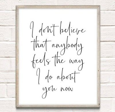 Oasis Lyrics Wonderwall Typography Print Poster Couple Love Unframed Quote Home