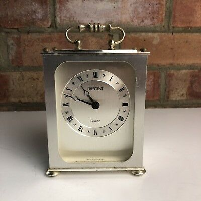 Vintage President Metal/Brass Carriage Clock Kienzle Quartz Germany, Working