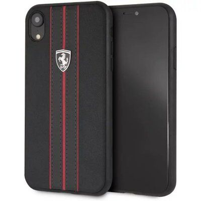 Genuine Ferrari Off Track Leather Case Cover for iPhone XR in Black