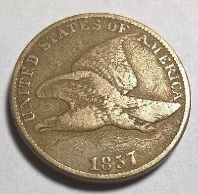 1857 FLYING EAGLE COPPER-NICKEL CENT F-VF PROBLEM FREE COIN ( free shipping )