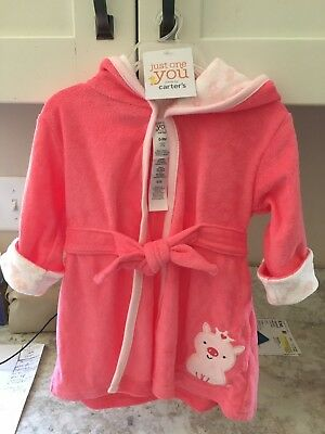 0-9 months Just One You by Carter's hooded bathrobe towel pig clothes Baby girl