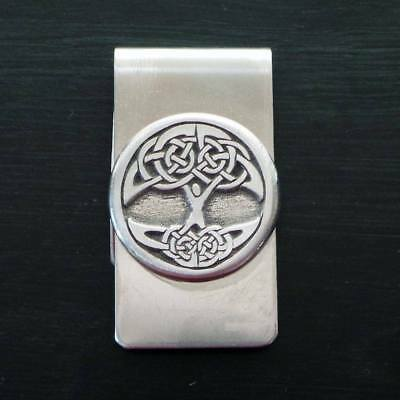 Celtic Pewter emblem and Stainless Steel Tree of Life Money Clip made in USA