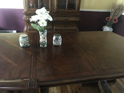 Ethan Allen Tuscany dining room table with 8 Upholstered Chairs