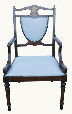 A Superb Victorian Inlaid Mahogany Armchair