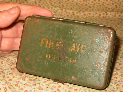 """Vintage Used Bell System 4"""" Metal First Aid Kit Box -S Olive Drab Green"""