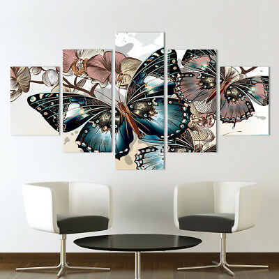 Butterfly Flowers Animal 5 Pieces canvas Wall Art Picture Gift Home Decor