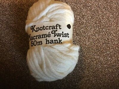 50g Hank Knotcraft Macrame Twist Yarn. Cream