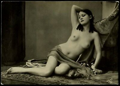 1910 Original French RPPC Full Nude Delicate Girl Posing Lingerie Large Size