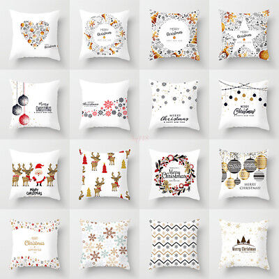 Xmas Cotton Glitter Pillow Case Square Christmas Cushion Cover Home Decoration