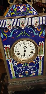 French Bronze Enamel Mantel clock
