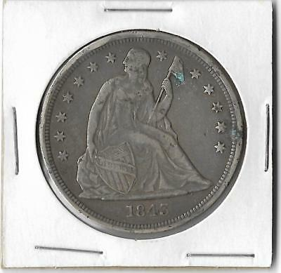 1843 Seated Liberty Silver Dollar $1- Rare Coin