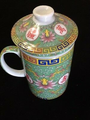 Chinese Porcelain Tea Cup Handled Infuser Strainer with Lid 10oz Original Green