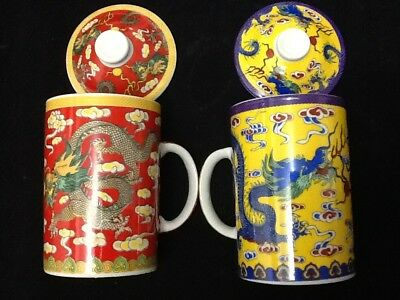 2 Chinese Porcelain Tea Cup Handled Strainer with Lid 10 oz  Two Dragon Cups
