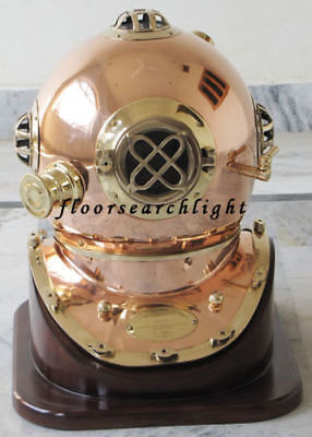 Antique Us Navy Mark V Copper Brass Divers Diving Helmet With Wooden Base Stand