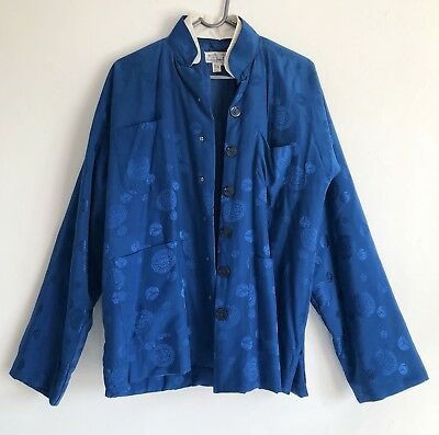 Vintage Mens Traditional PURE SILK Chinese Jacket Padded Lined - Peacock Blue -