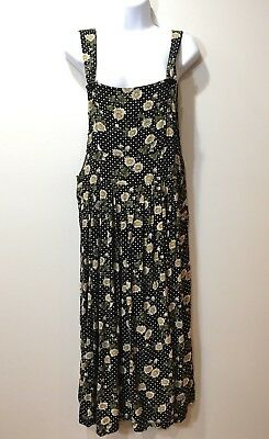 Vintage 90s Sarin Romper Jumper Rayon Black White Daisy Floral Print Size Large