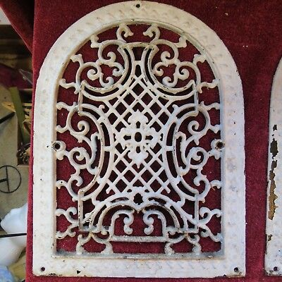 Antique Cast Iron Tombstone Scroll Grate Heating Vent 1879 Face Plate Ships Free