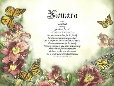 """""""Butterflies in Flowers"""" Personalized Name Meaning Print - Ready to Frame"""