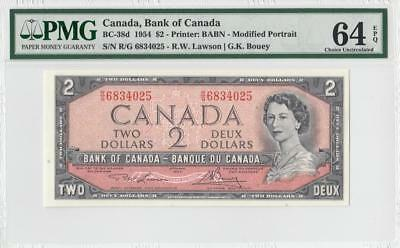1954 BANK OF CANADA QEII $2 **Consecutive 1 of 3** (( PMG 64 EPQ ))