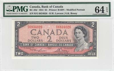 1954 BANK OF CANADA QEII $2 **Consecutive 2 of 3** (( PMG 64 EPQ ))