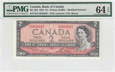 1954 BANK OF CANADA QEII $2 **Consecutive 3 of 3** (( PMG 64 EPQ ))