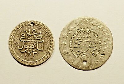 Lot Of 2 - Ancient Silver Islamic Ottoman Coin - Nice Quality