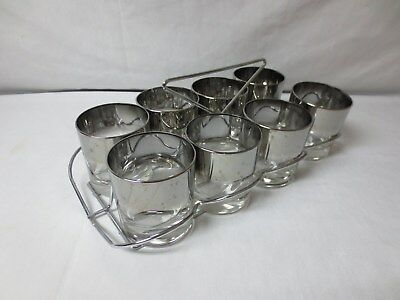 Mid Century Modern Retro 9 pc Silver/Black BAR Cocktail Glass & CADDY Set