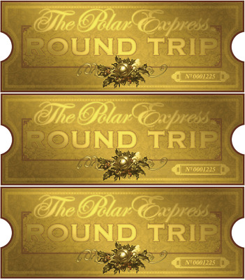 The Polar Express Lot Of 3 Train Trickets > Bell > Christmas > Believe > Gold