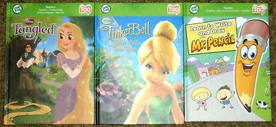 3~Leap Frog Tag Reader Books~Tangled~Tinker Bell~Mr. Pencil