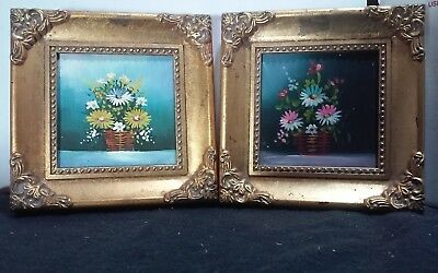 Pair (2) original vintage miniature framed 2.5 x 2.5 oil paintings