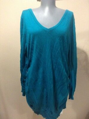 Motherhood Maternity Teal Sweater Ruched Sides Extra Large