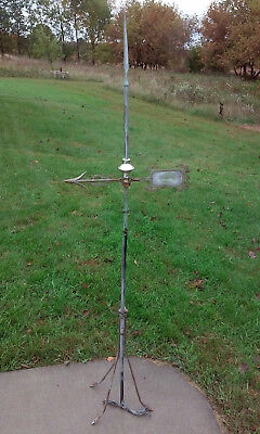 Copper Lightning Rod Cast Iron Arrow Glass With Cast Iron Stand
