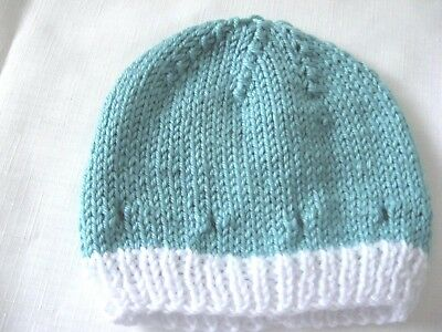 Hand Knitted Green Baby Hat - 3 Mos.