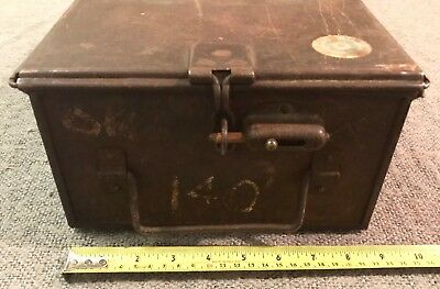 Very Rare Find Original Antique Heavy Iron Bank Security Box Latch &  Bolt C1920