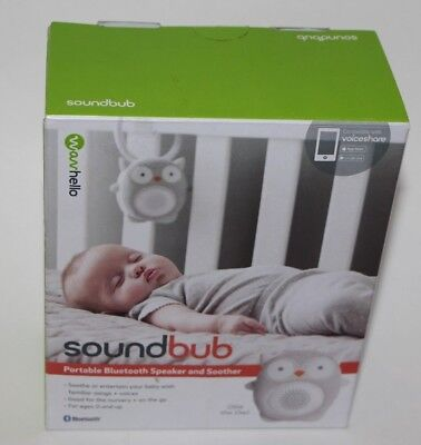 Soundbub Ollie The Owl Portable Bluetooth Speaker Baby Soother White Noise New