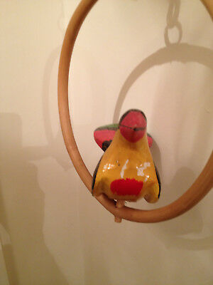 Vintage Folk Art Wood Carved Brightly Painted Parrot On Perch -