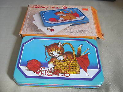 Vintage Stationery in a Tin, Cat, Kitten in Knitting Basket, Hong Kong