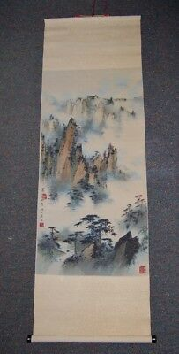Pretty  CHINESE HAND PAINTING Tall mountains SCROLL MARKED 37 inch x 12 inch